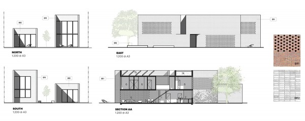 LANEWAY HOUSE ELEVATIONS & SECTION